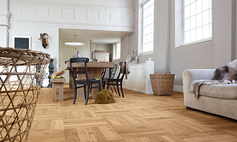 Basketweave Parquet wood flooring panels engineered natural oak brushed-and-oiled