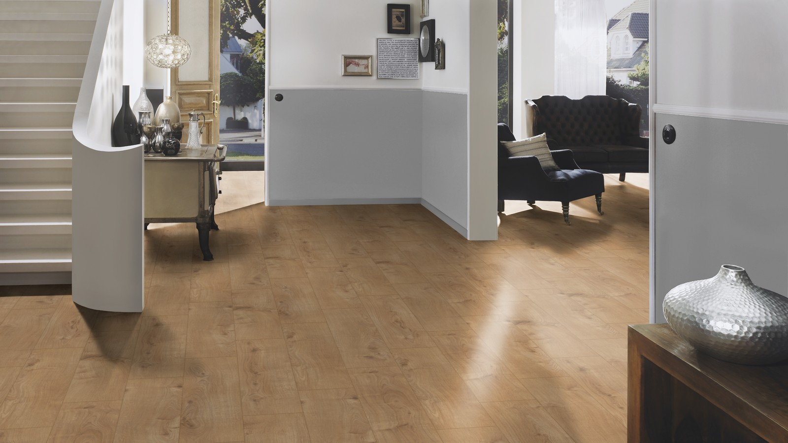 Timberwolf oak laminate floor london stock 193mm for Laminate flooring london