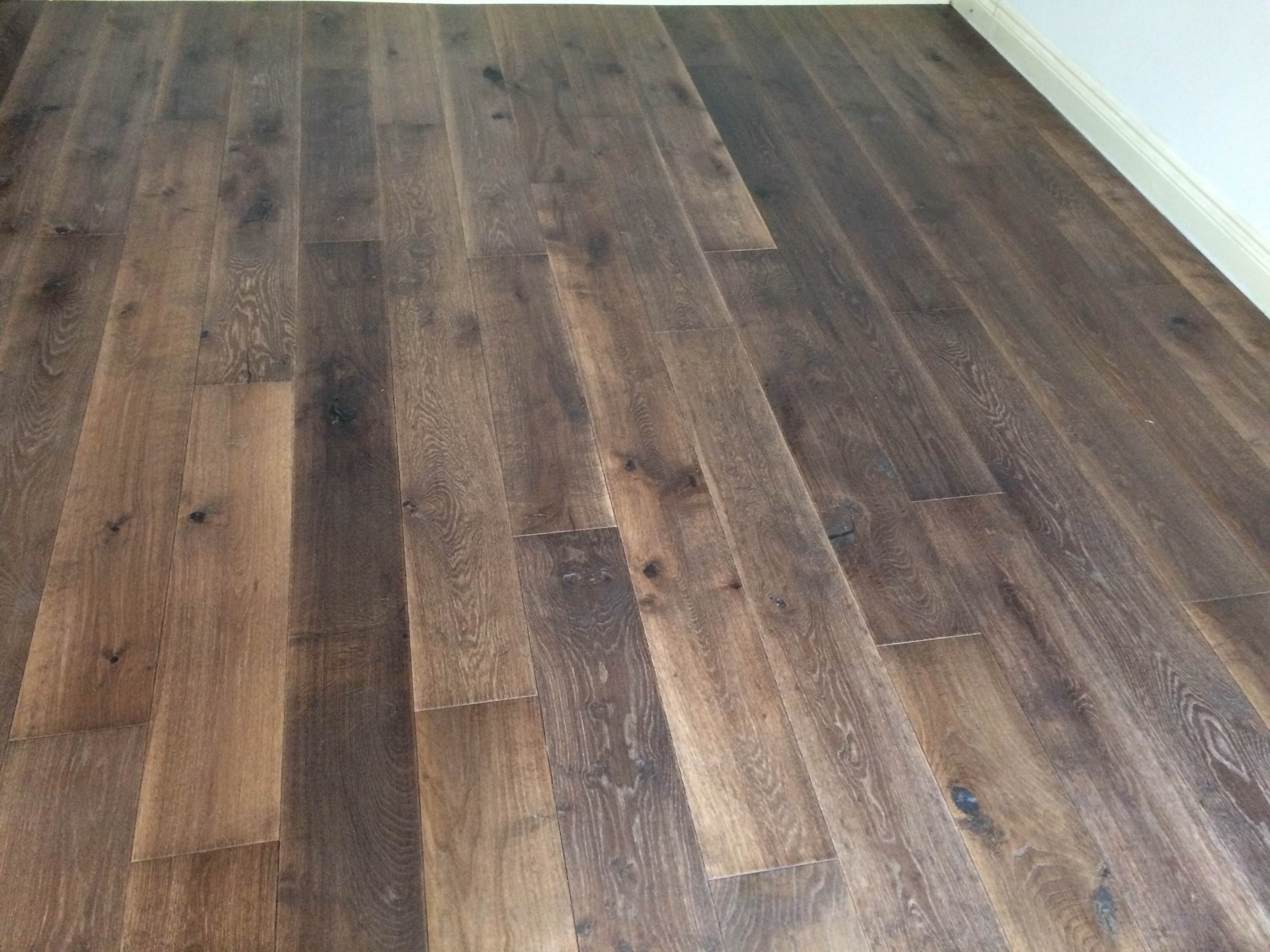 Tumbled london dark oak engineered hand scraped and for Engineered oak flooring