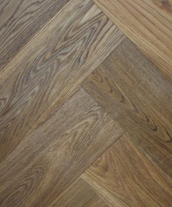 Smoked brushed and sealed Engineered oak herringbone wood blocks