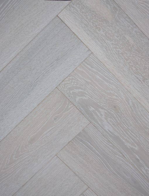 Limed and white oiled Engineered oak herringbone wood blocks