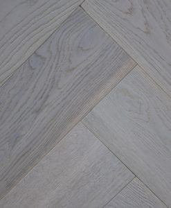 Grey brushed and oiled Engineered oak herringbone