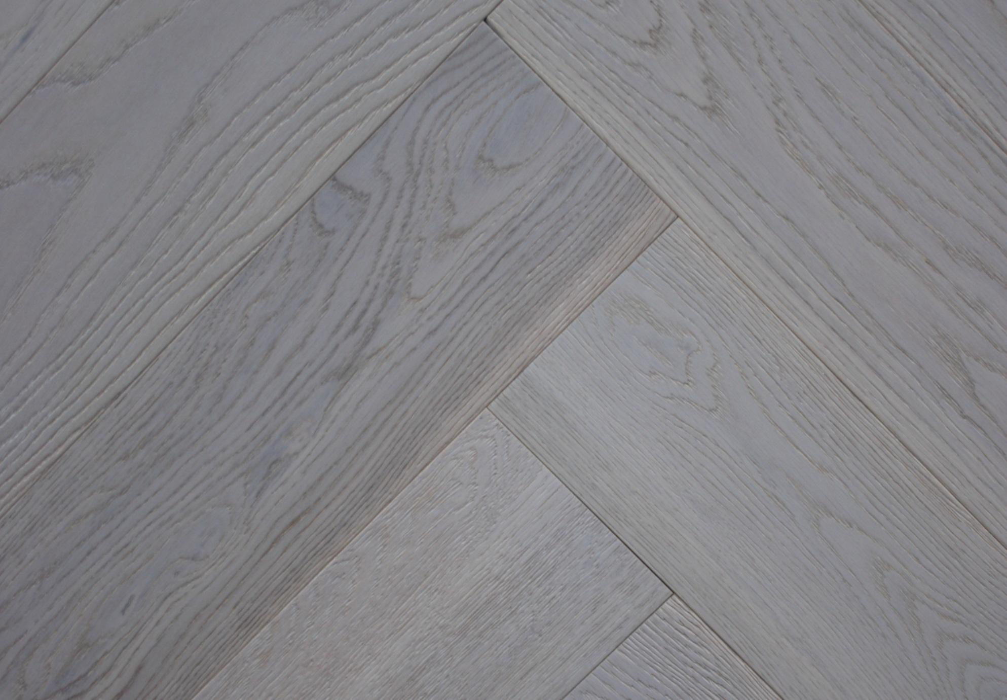 Grey Brushed And Oiled Engineered Oak Herringbone Wood