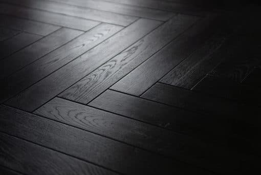 Black Laminated oak herringbone wood blocks