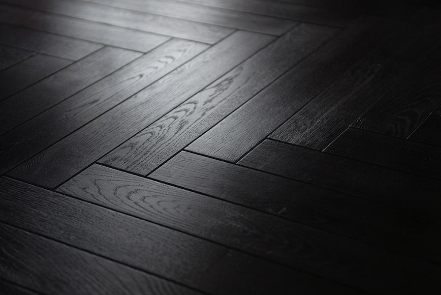 Black Laminated Oak Herringbone Wood, Black Wood Laminate Flooring
