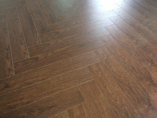 Laminated walnut herringbone wood blocks