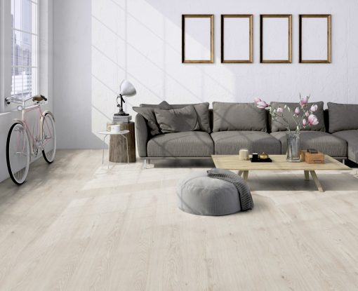 Luxury vinyl planks Skagen white oak LVF 100 main room wood4floors
