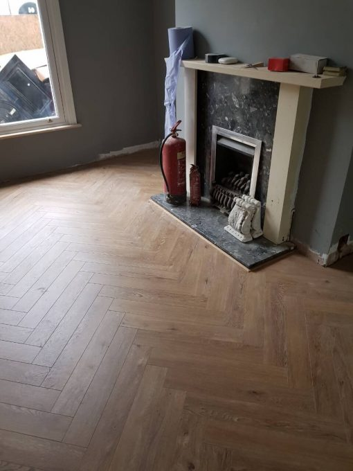 Toasted Laminated oak herringbone wood blocks