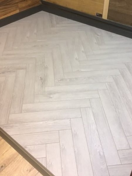 Grey Laminated Oak Herringbone Wood Blocks London Stock
