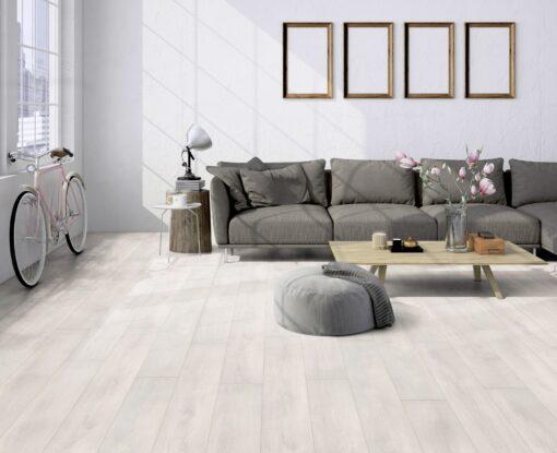 LA02 - ter Hürne Oak Pearl White Laminate Plank - Living Room