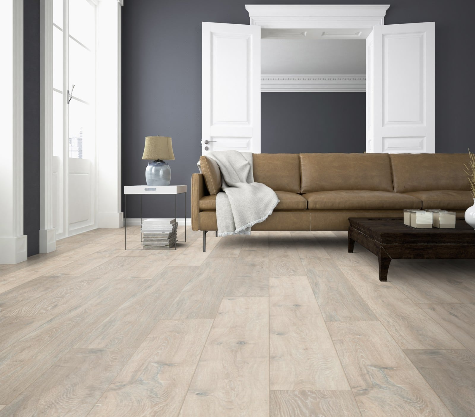 La06 ter hürne oak moon grey laminate long plank living room