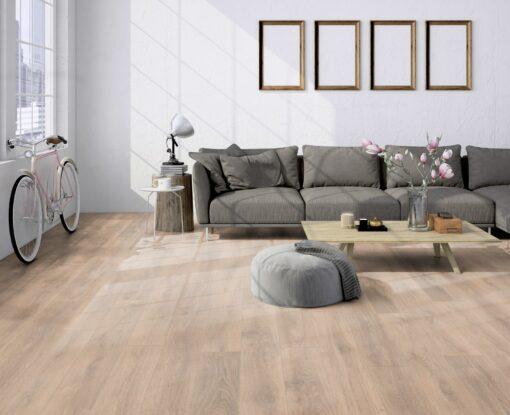 LA10 - ter Hürne Oak Sand Brown Laminate Plank - Living Room