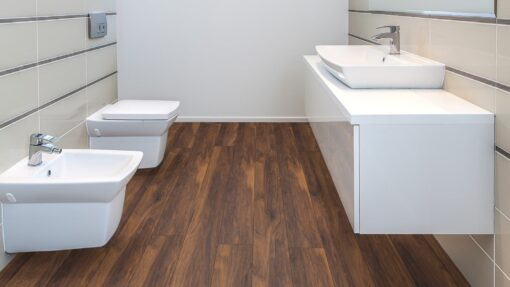 LB12 - ter Hürne Chestnut Velvet Brown Laminate Long Plank - Bathroom