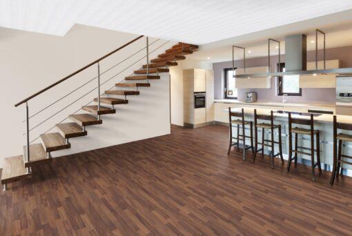 LD08a - ter Hürne Walnut Contrast Brown Laminate 3-Strip - Kitchen