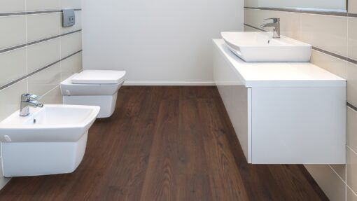 LD10 - ter Hürne Chestnut Chocolate Brown Laminate Long Plank - Bathroom