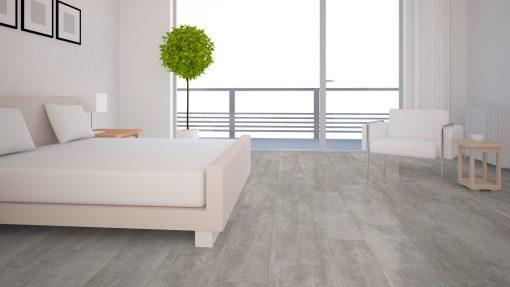 LE05 - ter Hürne Cement Look Light Grey Laminate Tile - Bedroom