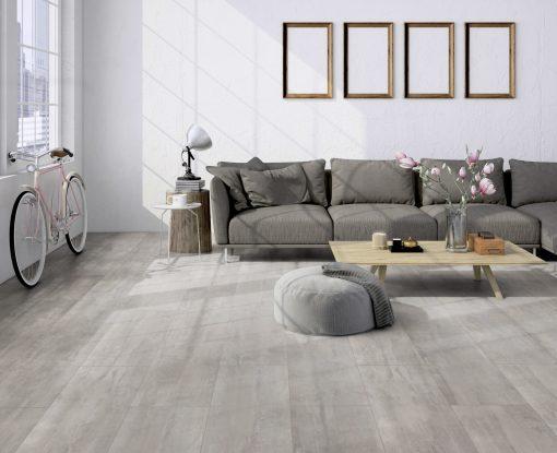 LE05 - ter Hürne Cement Look Light Grey Laminate Tile - Living Room