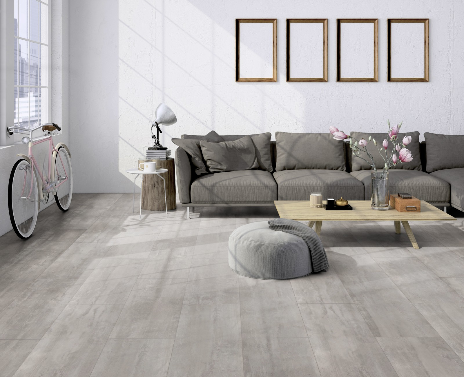 Le05 ter hürne cement look light grey laminate tile living room
