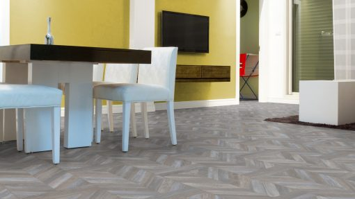 LE08 - ter Hürne Oak Antique Grey Brown Laminate Herringbone - Kitchen