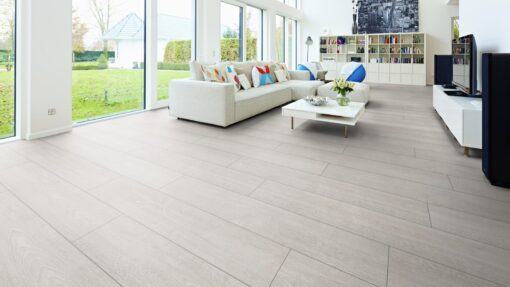 LA01 - ter Hürne Oak White Grey Laminate Wide Plank - Living Room