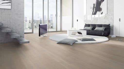 Silver Clamshell Lacquered Click System Oak Wood Flooring london stock
